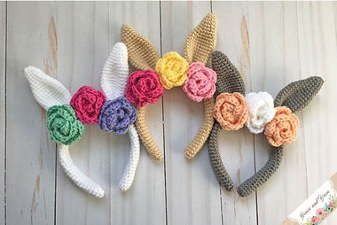Bunny and Roses Headband Pattern-Patterns-Paradise Fibers