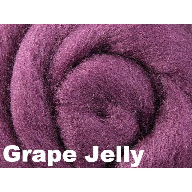 Ashford Solid Colored Corriedale Sliver (4oz bag) Grape Jelly 08 / 4oz - 9