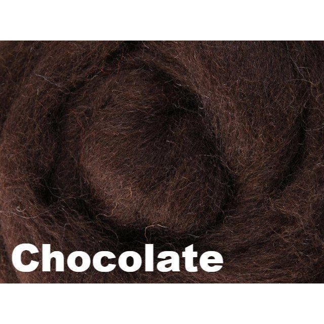 Ashford Solid Colored Corriedale Sliver (4oz bag) Chocolate 20 / 4oz - 22