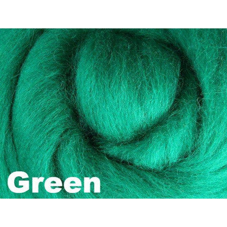 Paradise Fibers Fiber Ashford Solid Colored Corriedale Sliver (4oz bag) Green 22 / 4oz - 24