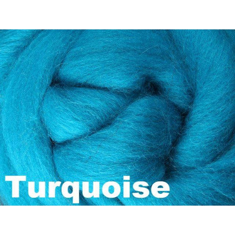 Paradise Fibers Fiber Ashford Solid Colored Corriedale Sliver (4oz bag) Turquoise 26 / 4oz - 28