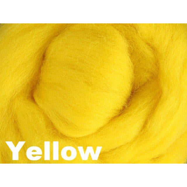 Ashford Solid Colored Corriedale Sliver (4oz bag) Yellow 27 / 4oz - 29