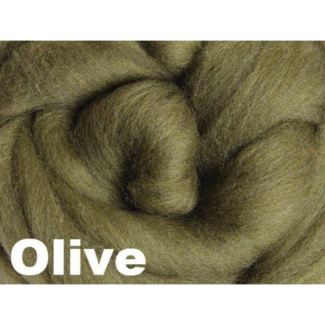 Paradise Fibers Fiber Ashford Solid Colored Corriedale Sliver (4oz bag) Olive 38 / 4oz - 38