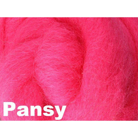Paradise Fibers Fiber Ashford Solid Colored Corriedale Sliver (4oz bag) Pansy 46 / 4oz - 46
