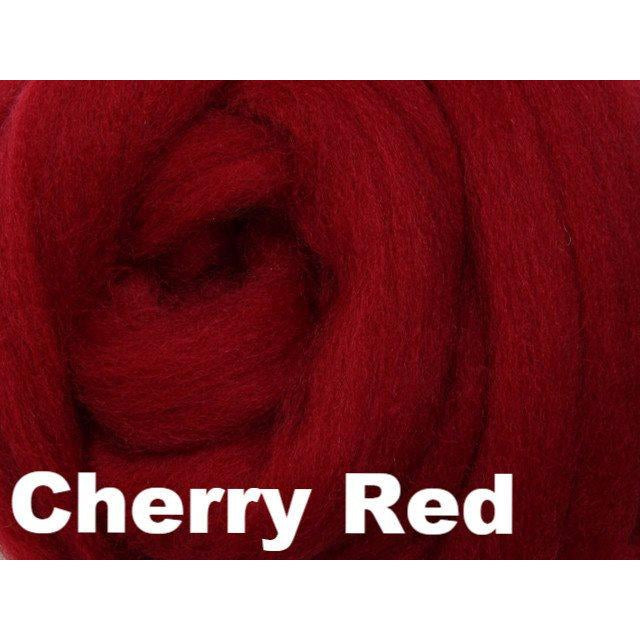 Ashford Solid Colored Corriedale Sliver (4oz bag) Cherry Red 49 / 4oz - 50