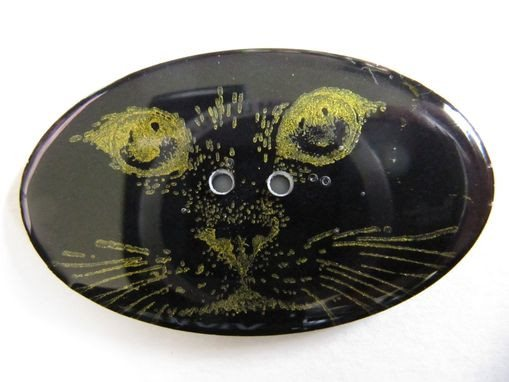 Handmade Resin Button, Oval Cat Face - 2