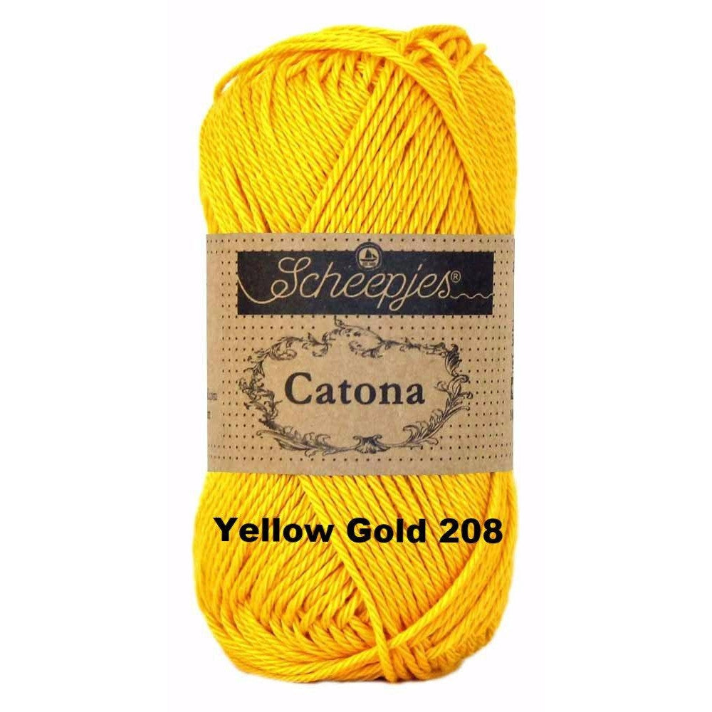 Scheepjes Catona 50g Yarn Yellow Gold 208 - 25