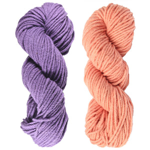 Mt. Vernon Kettle Dyed 3-Ply Bulky Yarn.100% U.S.A. Wool From Cestari Farm. One purple and one pink.