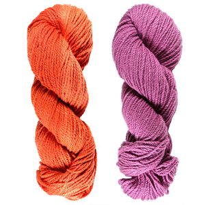 Mt. Vernon Kettle Dyed 3-Ply DK Yarn. 100% U.S.A. Wool From Cestari Farm. One orange and one purple.