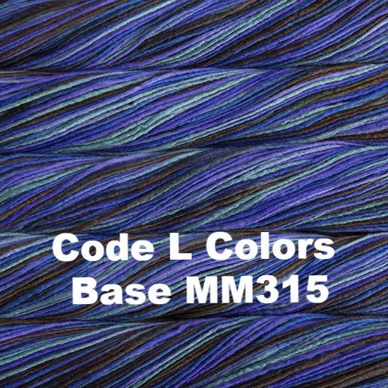 Malabrigo Worsted Yarn Variegated Code L Colors Base MM315 - 52