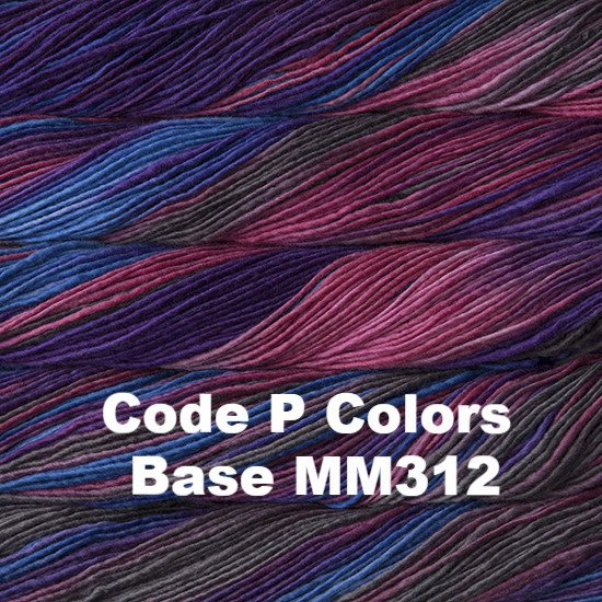 Malabrigo Worsted Yarn Variegated Code P Colors Base MM312 - 48
