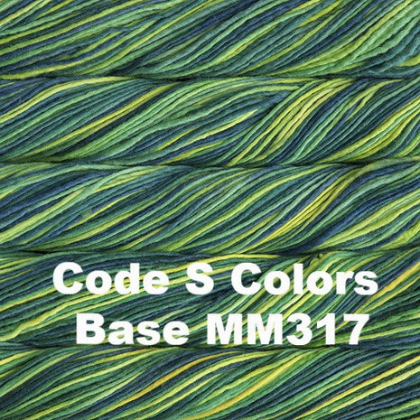 Malabrigo Worsted Yarn Variegated Code S Colors Base MM317 - 55