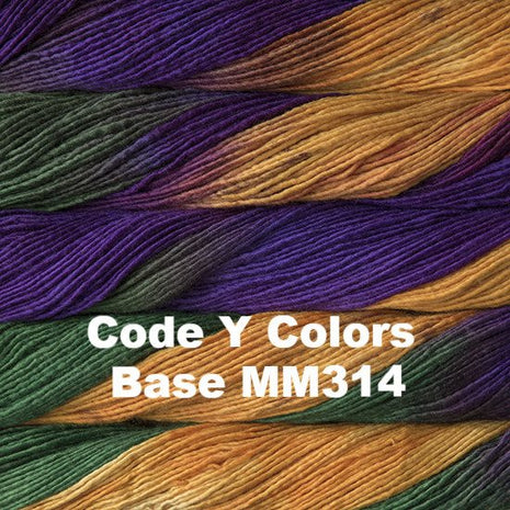 Malabrigo Worsted Yarn Variegated Code Y Colors Base MM314 - 50