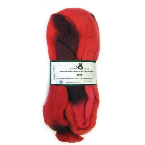 Artfelt Multi Colored Merino Standard Rovings Cranberry Blend 1963 - 11