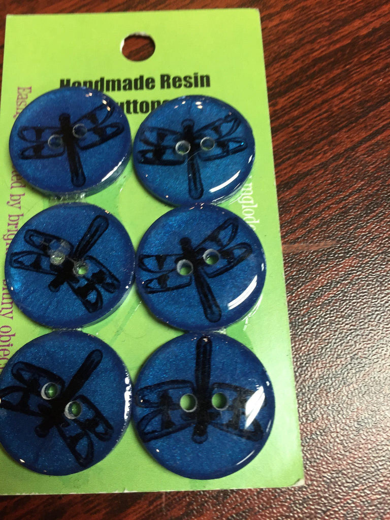 "Handmade Resin Buttons - 5/8"" Set of 6 - Blues Dragonfly - 1"