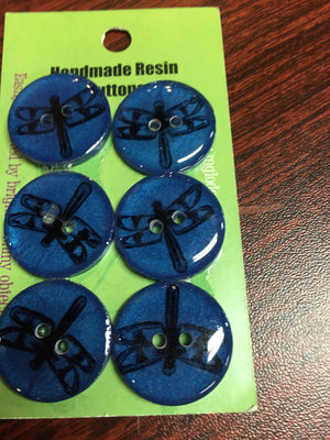 "Handmade Resin Buttons - 5/8"" Set of 6 - Blues-Button-Dragonfly-"