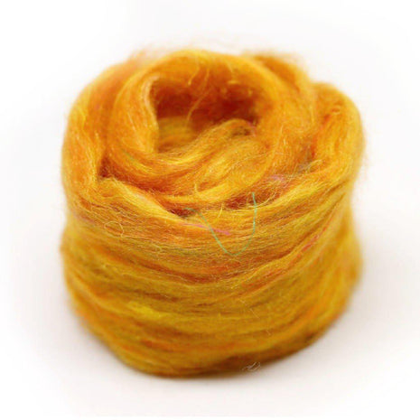 Recycled Sari Silk Pulled Rovings-Fiber-Mint Fabrics-Yellow-4oz-Paradise Fibers
