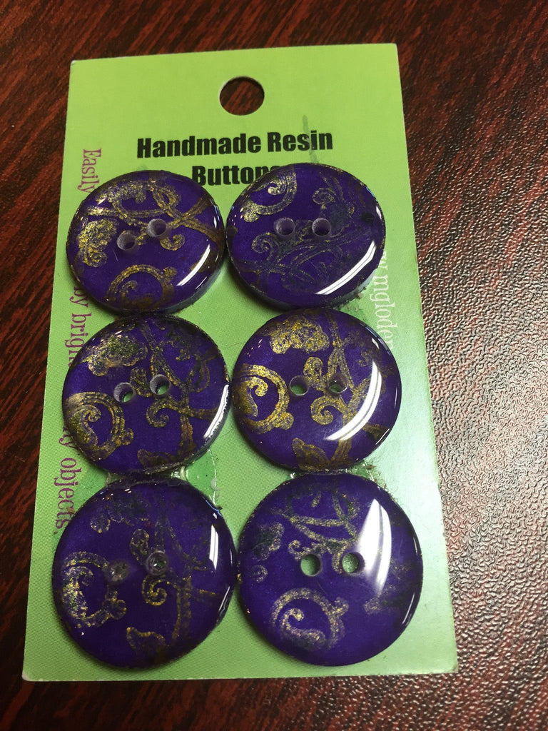 Handmade Resin Buttons - Set of 6 - Purple Gold Vine - 4