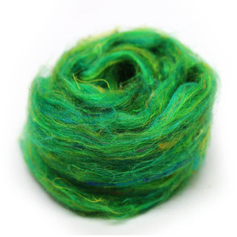 Recycled Sari Silk Pulled Rovings-Fiber-Mint Fabrics-Green-4oz-Paradise Fibers