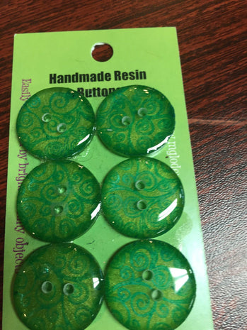 Handmade Resin Buttons - Set of 6 - Greens Green Lace - 4