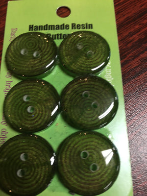 Handmade Resin Buttons - Set of 6 - Greens-Button-Bull's Eye-