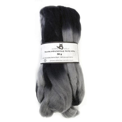 Artfelt Multi Colored Merino Standard Rovings Grey Black 1967 - 15