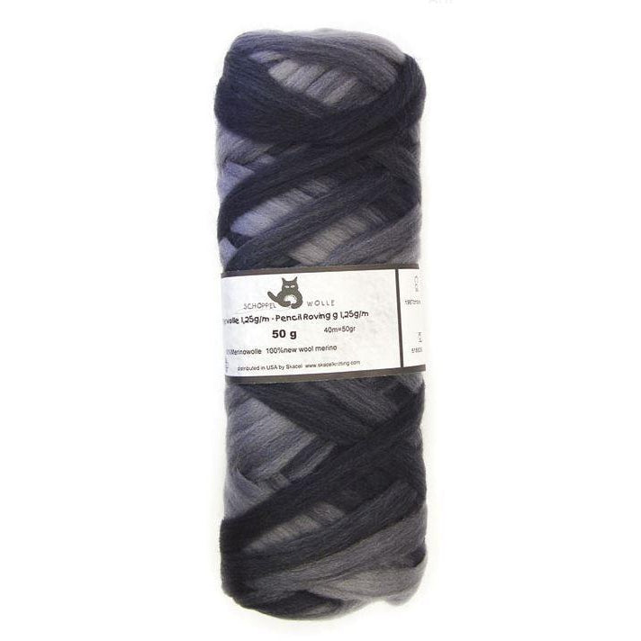 Artfelt Multi Colored Merino Pencil Rovings Grey Black 1967 - 15
