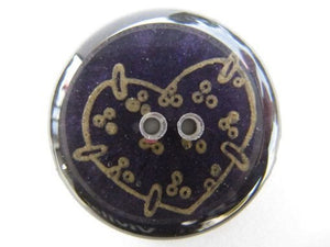 Handmade Resin Buttons: Deep Purple with Gold Hearts-Button-