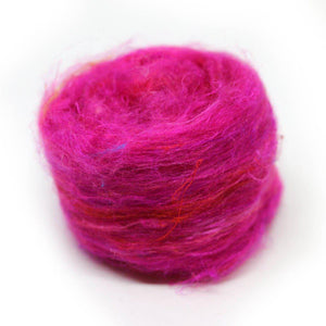 Recycled Sari Silk Pulled Rovings-Fiber-Mint Fabrics-Hot Pink-4oz-Paradise Fibers