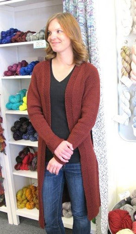 Knitting Pure Simple Top Down Long Open Cardigan Pattern