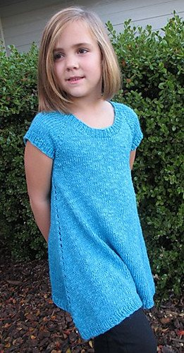 Knitting Pure & Simple Girls Top Down Trapeze Tunic Pattern