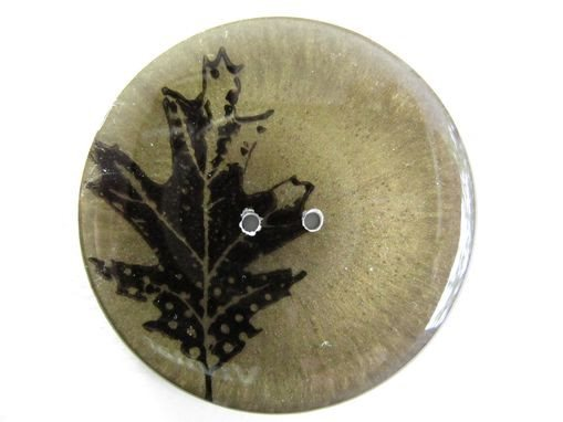 "Handmade Resin Button - 2 1/8"" Brown Leaf - 2"