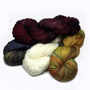 Twisted hanks of Malabrigo Rios Worsted in various colors