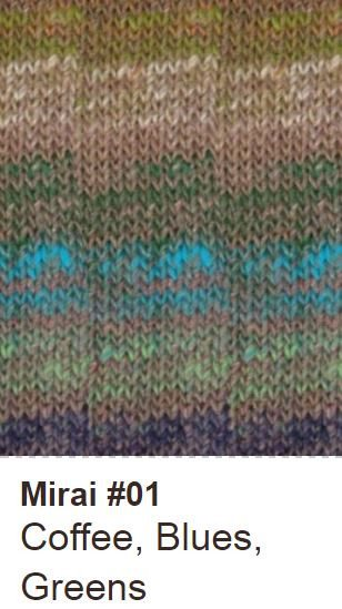 Noro Shawl Collar Cardigan Kit Small / 01 Coffee/Blues/Greens - 2