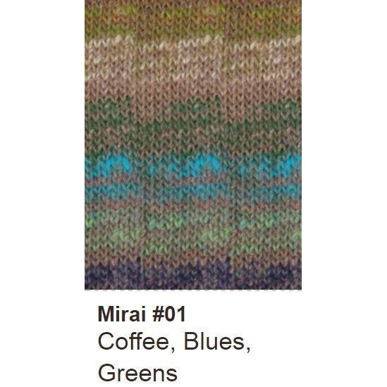 Noro Mirai Yarn 01 Coffee/Blues/Greens - 1