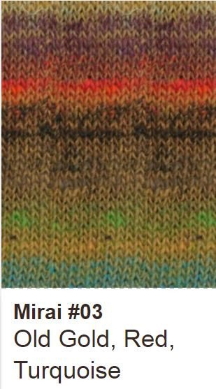 Noro Crescent Shawl Kit 03 Old Gold/Red/Turquoise - 4
