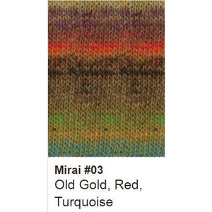 Noro Mirai Yarn-Yarn-03 Old Gold/Red/Turquoise-