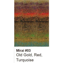 Noro Mirai Yarn 03 Old Gold/Red/Turquoise - 3