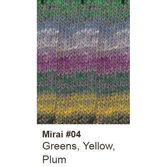 Noro Mirai Yarn 04 Greens/Yellow/Plum - 4