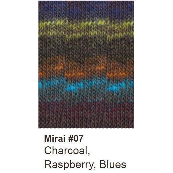 Noro Mirai Yarn 07 Charcoal/Raspberry/Blues - 6