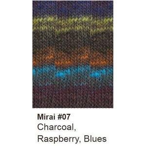 Noro Mirai Yarn-Yarn-07 Charcoal/Raspberry/Blues-