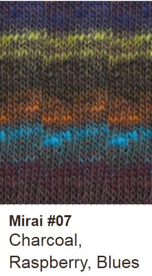 Noro Shawl Collar Cardigan Kit Small / 07 Charcoal/Raspberry/Blues - 4