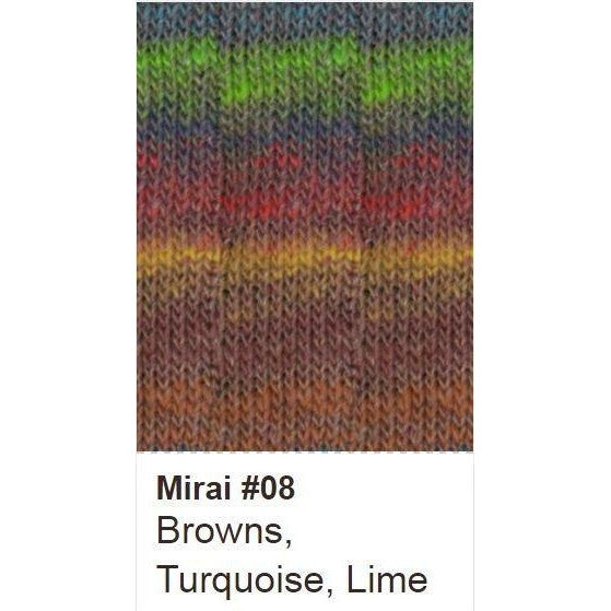 Noro Mirai Yarn 08 Browns/Turquoise/Lime - 7