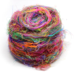 Multi-Colored Recycled Sari Silk Roving.