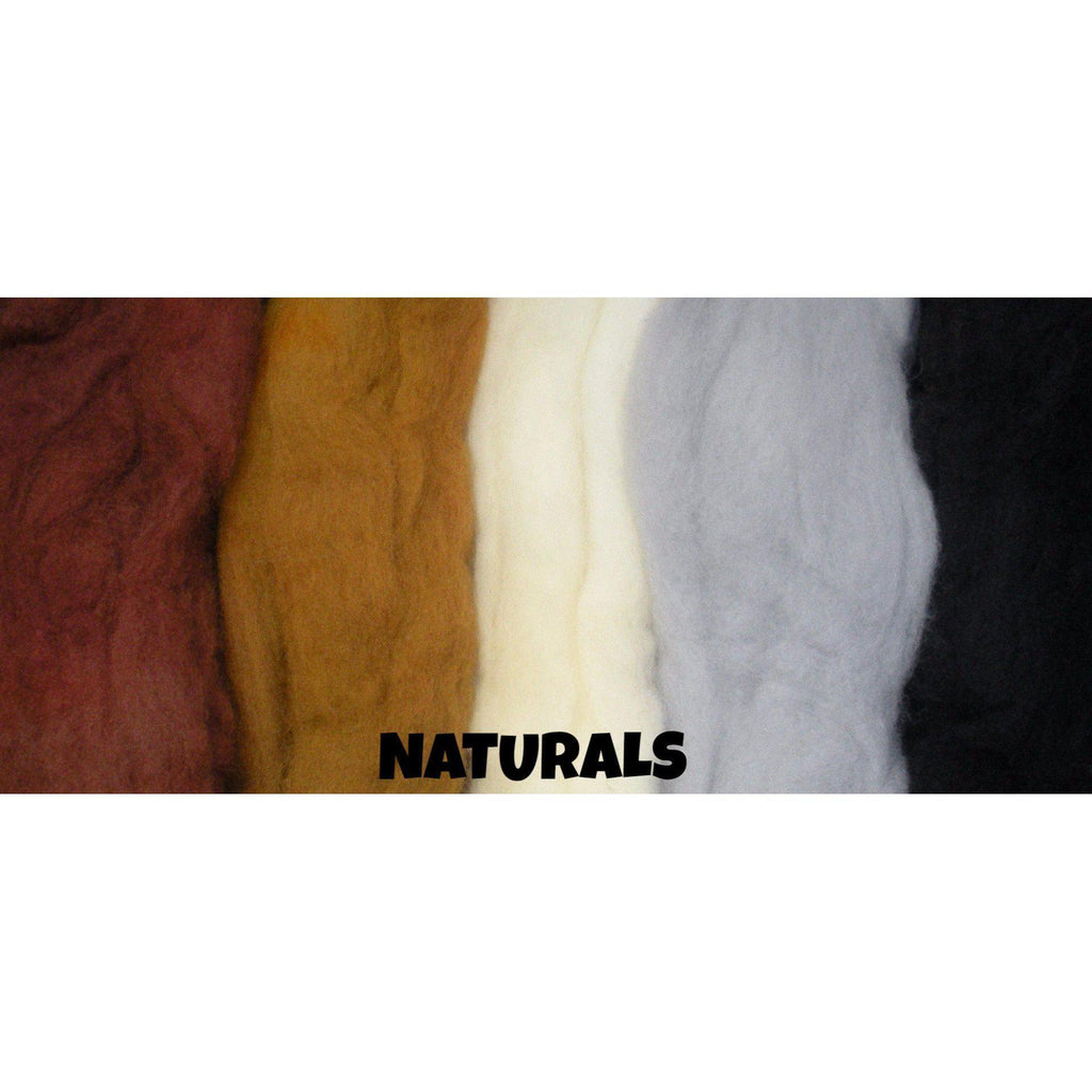 Ferndale Fiber Needle Felting Wool Multi Color Packs Naturals - 8