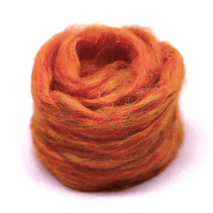 Recycled Sari Silk Pulled Rovings-Fiber-Orange-4oz-