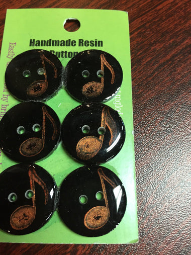 Handmade Resin Buttons - Set of 6 - Black, White Musical Note - 1