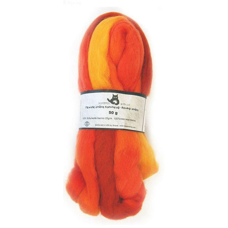 Artfelt Multi Colored Merino Standard Rovings Orange Ya Happy? 1873 - 8