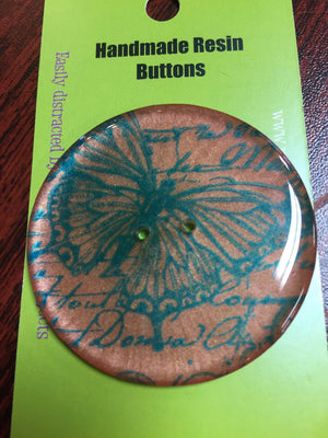 "Handmade Resin Button - approx. 2"" diameter-Button-Orange Butterfly-"