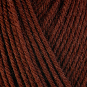Fox 3344, a reddish brown skein of washable worsted weight Ultra Wool yarn.